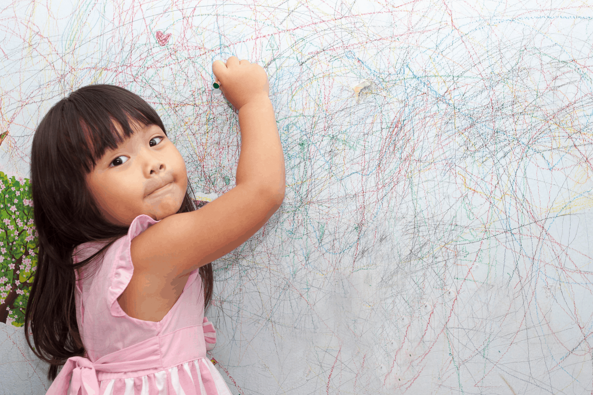 crayon on wall